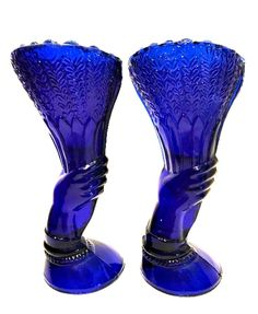 "Hand Holding Vase Cobalt Blue Glass Vintage Pair 6.5"" Tall"