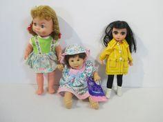Dolls Big Eye Lorrie My Pal Vintage Plastic Yellow Raincoat Small Lot of 3