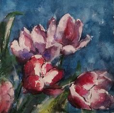 "Original Watercolor by Julie Hill.Capturing Life with Brushstrokes: Pink Tulips 6"" x 6"""