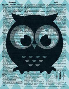vintage owl print