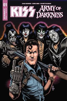 Dynamite has announced that Ash Williams will meet Gene Simmons in their new KISS/Army of Darkness series shipping in February. Evil Dead Movies, Scary Movies, Horror Icons, Horror Comics, Bruce Campbell Evil Dead, Chris Sims, Ash Evil Dead, Kiss World, Kiss Rock Bands
