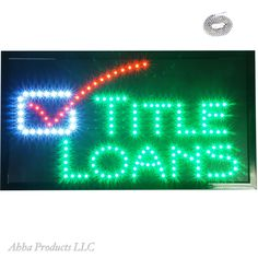 """Large 24x13"""" Title Loans Mortgage House Home Boat Real Estate LED Open Sign neon #AhhaProducts"""