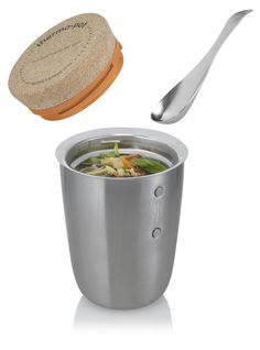 Stainless steel vacuum food flask. It has a cork top (with minimal thread detail) and stainless steel spoon which magnetises onto the side.