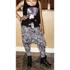 No Credit Cards Unisex ZEBRA Harem dance pants From WASSS GUCCI by... ($38) ❤ liked on Polyvore