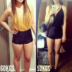 """My gorgeous client @8kilosto50 - Lauren has a goal that every girl should have - she says """" I just want to be healthy and happy"""". Ultimately, she would love to get to 50 kgs - which is perfect for her height I think she looks absolutely fantastic!! This is her wearing the SAME shorts ( and top - in a different colour) AWESOME work @8kilosto50! #kaylaitsines #workout #gym"""