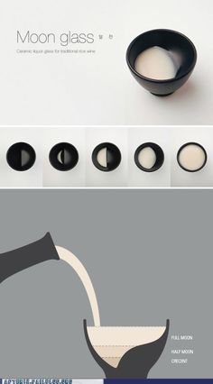 Moon Glass Designs Designs Designs Designs: Korean design studio Tale Co. created this clever sake cup that displays the different phases of the Moon as you drink: Cerámica Ideas, Plakat Design, Web Design, Graphic Design, Smart Design, Ceramic Art, Glass Ceramic, Ceramic Bowls, Ceramic Pottery