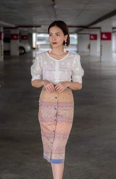 Myanmar Traditional Dress, Traditional Dresses, Batik Dress, Silk Dress, Modern Filipiniana Gown, Floral Shirt Outfit, Myanmar Dress Design, Thai Dress, Western Outfits