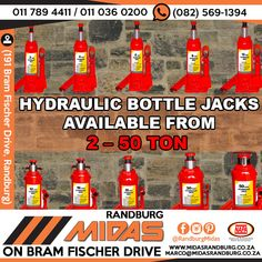 We stock a wide range of bottle Jacks that will help you take the heavy work out of lifting.