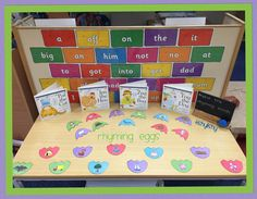 Rhyming Eggs on the phonic table.