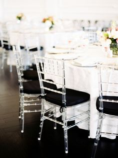 Black and Lucite Chiavari Chairs at Reception | photography by http://sarahderphotography.com