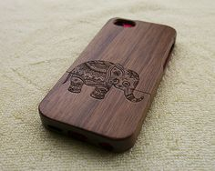Wood iPhone 5C case, wooden iPhone 5C case, elephant iPhone 5C case, floral elephant iPhone 5C case, wooden iPhone case