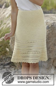 "Daniella - Crochet DROPS skirt with lace and fan pattern, worked top down in ""Alpaca"". Size: S - XXXL. - Free pattern by DROPS Design"