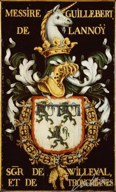 """(13) Gilbert de LANNOY, sgr de Villerval (1386-1462) -- Messire Guillebert de Lannoÿ, sgr de Willeval et de Tronchien(n)es"""" -- Armorial plate from the Order of the Golden Fleece, painted by Pierre Coustain, 1445, Saint Bavo Cathedral, Gent"""