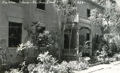 Hulihee Palace, Kailua, Kona ca.1940's, originally built in 1838,  This royal residence was occupied by the past Hawaiian royal families up until 1914. Today however, this museum is thought to be haunted by the Hawaiian Monarchs of ancient times. These ghosts refuse to leave, and maintain their occupancy in this palace; it is said that they can be heard walking up and down the majestic staircase all hours of the day.  No photographs are ever permitted indoors.