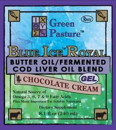 Blue Ice Royal (Butter/CLO blend), Chocolate Cream Gel, 240ml   cod liver oil and butter for teeth