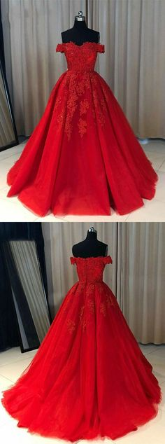Fashion Ball Gown Off-The-Shoulder Red Long Prom Dress With Appliques, Shop plus-sized prom dresses for curvy figures and plus-size party dresses. Ball gowns for prom in plus sizes and short plus-sized prom dresses for Cute Prom Dresses, Dresses Short, Tulle Prom Dress, Simple Dresses, Beautiful Dresses, Bridesmaid Dresses, Red Sweet 16 Dresses, Dress Red, Bridesmaid Ideas