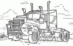 Big Rig Truck Coloring Page For Kids Transportation Pages Printables Free