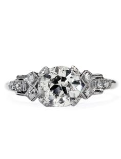 Sylvana Vintage Diamond Engagement Ring in Platinum with Art Deco Accents | Dana Walden Bridal: Unique Engagement Rings Made in NYC