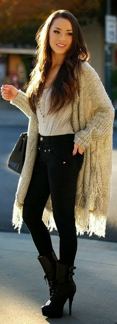 Amazing Street Fashion : Oversized Sweater , Black Tights with long Black Boots