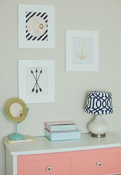 modern navy, coral, and gold bedroom; toddler girls room, modern toddler bedroom, bedroom decor by beth Big Girl Bedrooms, Little Girl Rooms, Kids Bedroom, Bedroom Decor, Bedroom Ideas, Wall Decor, Inspiration Design, Room Inspiration, My New Room