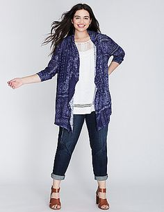 Lightweight, breathable hacci fabric makes the perfect layer. Open drape-front. lanebryant.com
