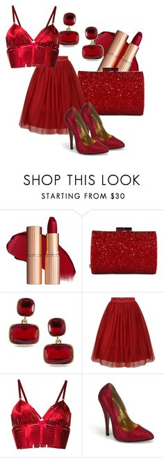 """""""Red"""" by i-love-shoes ❤ liked on Polyvore featuring Jimmy Choo, Lauren Ralph Lauren and Bordelle"""