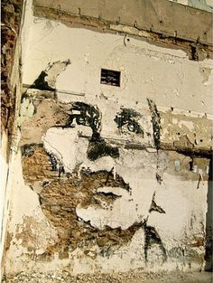 Vhils, face, wall, street art, artwork, graffitti, urban, photo.