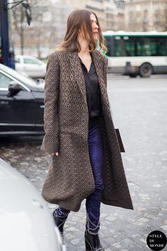 Paris Fashion Week FW 2014 Street Style: Elisa Sednaoui - STYLE DU MONDE | Street Style Street Fashion Photos