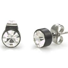 This unique stud style will definitely upgrade any appearance with an eye – catching trendy touch, featuring a beautiful cubic zirconium stones on black steel design. Mens Dangle Earrings, Black Earrings, Simple Earrings, Gents Earrings, Cross Earrings, Hoop Earrings, Hanging Cross Earring, Stylish Rings, Stainless Steel Earrings