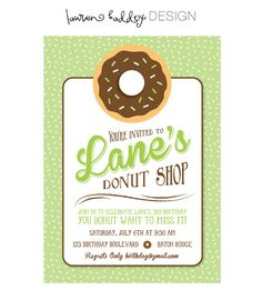 DIY Donut Birthday Party INVITATION ONLY by LaurenHaddoxDesign, $12.00