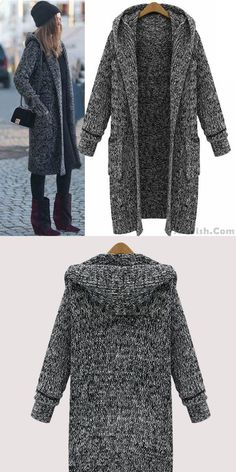 Cheap Hooded Lapel Knit Long Cardigan Sweater Coat For Big Sale!Hooded Lapel Knit Long Cardigan Sweater Coat, A line design, warm and stylish, popular to many fashion stars and elegant ladies. Long Sweater Coat, Long Cardigan, Sweater Cardigan, Girls Sweaters, Sweaters For Women, Winter Tops, Hijab Outfit, Star Fashion, Fashion Trends