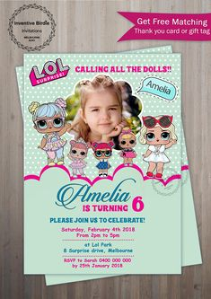 Lol Surprise Invitation, LOL Surprise Doll Party with FREE thank you tag or card in Home & Garden, Parties, Occasions, Greeting Cards & Invitations Unicorn Birthday Parties, 7th Birthday, Surprise Birthday, Lol Doll Cake, Photo Birthday Invitations, Troll Party, Lol Dolls, Birthday Photos, Birthdays