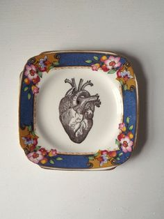 Vintage Anatomical Heart Plate Altered Art by TheLuckyFox on Etsy, $18.00