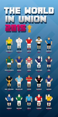 Illustration series for the teams of the 2015 Rugby World Cup. All teams and logos created using rotations of the 5 degree angle. Rugby 7's, Welsh Rugby, Rugby League, Rugby Players, Rugby Poster, Australian Football, Six Nations, All Team, All Blacks