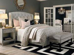 Bedroom furniture ideas - This chandelier does more than just illuminate the home. It also offers a stylish accent to this décor. www.homemagez.com
