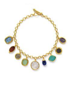 Elizabeth Locke Charm Necklace. Gems Jewelry, Boho Jewelry, Jewelry Accessories, Jewelry Necklaces, Fashion Jewelry, Charm Bracelets, Jewellery, Elizabeth Taylor Jewelry, Bracelet Crafts