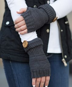 Olivia & Jane Charcoal Button-Accent Fingerless Gloves   zulily