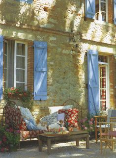 blue, shutter, stone walls, french country, patio, southern france, outdoor spaces, stone houses, provence france