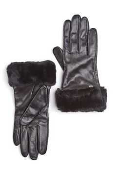 Dyed Genuine Shearling Trimmed Leather Gloves