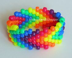 Rainbow Arrows Kandi Bracelet UV Reactive by VickysKandiShoppe, $4.00