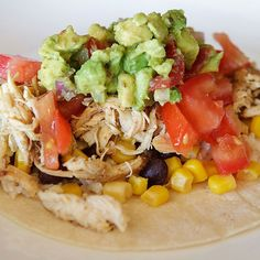 Southwest Chicken Tacos 1 Red = Chicken 1 Yellow = Corn Tortilla 1 Yellow = Beans & Corn 1/2 Green = Tomato 1 Blue = Guacamole // 21 Day Fix // fitness // fitspo // workout // motivation // exercise // Meal Prep // diet // nutrition // Inspiration // fitfood // fitfam // clean eating // recipe // recipes