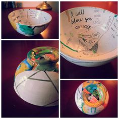 The Broken Bowl Project: The bowl represents us as an individual, we are vessels that hold many things. But sometimes we break and need to be put back together. Our brokenness changes us, makes us who we are. And so the painting on the outside of the bowl represents who we are on the outside, and the words on the inside of the bowl express all the hidden components that make us us.