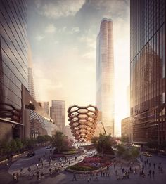 "Heatherwick Studio's ""Vessel"" Will Take the Form of an Endless Stairway at New York's Hudson Yards,View of the Public Square and Gardens Looking South from 33rd St.. Image Courtesy of Forbes Massie-Heatherwick Studio"