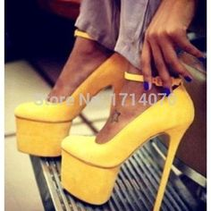 >> Click to Buy << Spring/Autumn newest design Elegant Yellow OL dress shoes Ankle Strap Buckle decorated concise design Platform High Heel Shoes #Affiliate