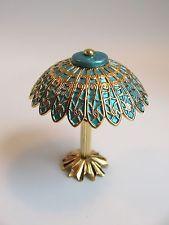 dollhouse doll house miniature ELECTRIC TIFFANY TABLE LAMP BLUE SHADE
