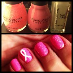 Breast cancer awareness month! From left- pinky glitter, pink forever and white nail art. Super easy way to show your support this October!!