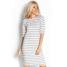 New Summer Autumn Dresses Women's Striped Bodycon Haif Sleeve Casual Slim Pencil Dress