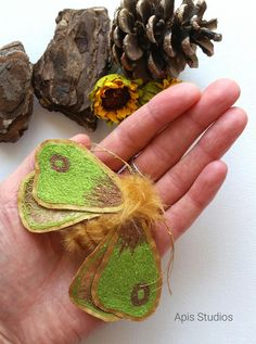 Moth brooch, textile art, butterfly brooch, textile jewellery, embroidery art, boho style, textile insect, wearable art, accessories by ApisStudios on Etsy