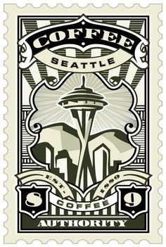 UMGX Retail Brand Development Authentic Coffee Fest Seattle Stamp Art Poster Illustration...