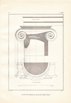 This is a classic architecture print of a drawing by Giacomo Vignola. It is a study of the shadows of a capital of the Ionic order, one of the five orders of architecture. It is a steel engraving and it was published in the 1920s. The original book by Vignola is from 1562.